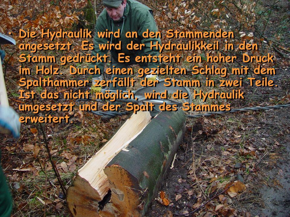 Die Hydraulik wird an den Stammenden angesetzt. Es wird der Hydraulikkeil in den Stamm gedrückt. Es entsteht ein hoher Druck im Holz. Durch einen gezi