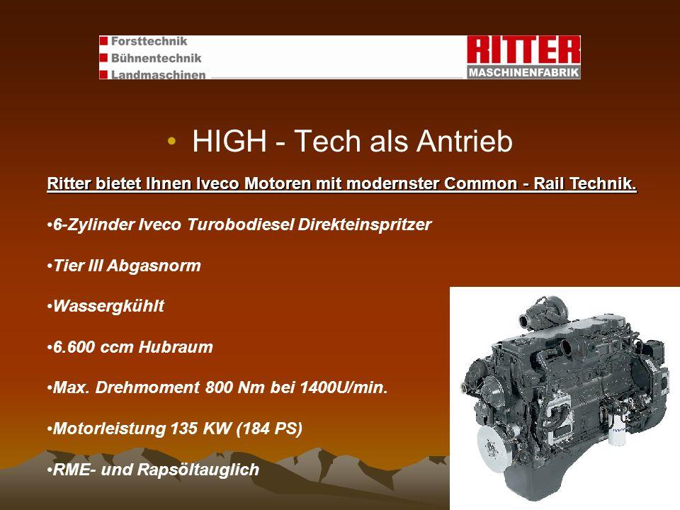 HIGH - Tech als Antrieb Ritter bietet Ihnen Iveco Motoren mit modernster Common - Rail Technik. 6-Zylinder Iveco Turobodiesel Direkteinspritzer Tier I