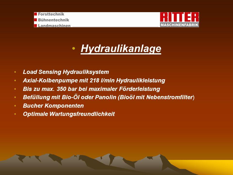 Hydraulikanlage Load Sensing Hydrauliksystem Axial-Kolbenpumpe mit 218 l/min Hydraulikleistung Bis zu max. 350 bar bei maximaler Förderleistung Befüll