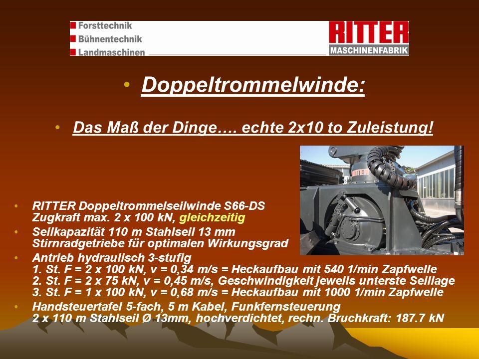 Doppeltrommelwinde: Das Maß der Dinge…. echte 2x10 to Zuleistung! RITTER Doppeltrommelseilwinde S66-DS Zugkraft max. 2 x 100 kN, gleichzeitig Seilkapa