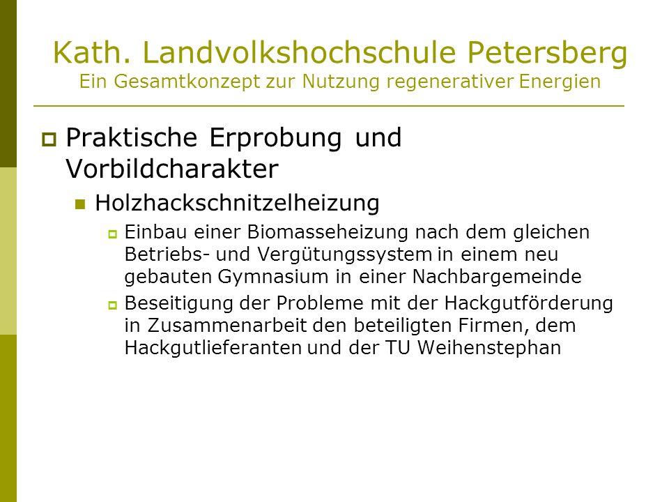 Kath. Landvolkshochschule Petersberg Ein Gesamtkonzept zur Nutzung regenerativer Energien Praktische Erprobung und Vorbildcharakter Holzhackschnitzelh