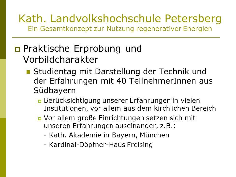 Kath. Landvolkshochschule Petersberg Ein Gesamtkonzept zur Nutzung regenerativer Energien Praktische Erprobung und Vorbildcharakter Studientag mit Dar