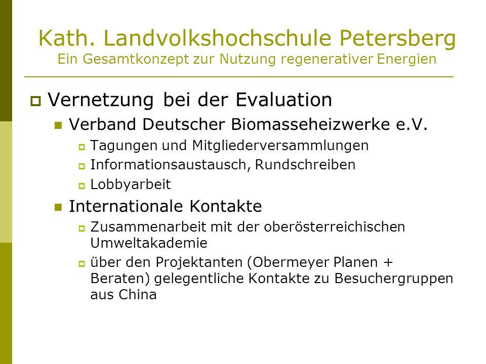 Kath. Landvolkshochschule Petersberg Ein Gesamtkonzept zur Nutzung regenerativer Energien Vernetzung bei der Evaluation Verband Deutscher Biomasseheiz
