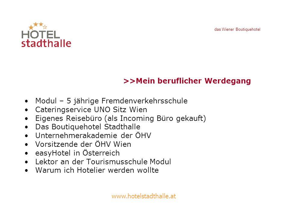 Modul – 5 jährige Fremdenverkehrsschule Cateringservice UNO Sitz Wien Eigenes Reisebüro (als Incoming Büro gekauft) Das Boutiquehotel Stadthalle Unter