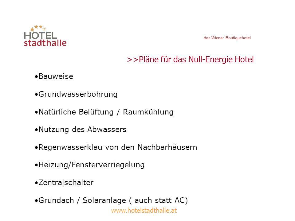 www.hotelstadthalle.at >>Pläne für das Null-Energie Hotel Bauweise Grundwasserbohrung Natürliche Belüftung / Raumkühlung Nutzung des Abwassers Regenwa