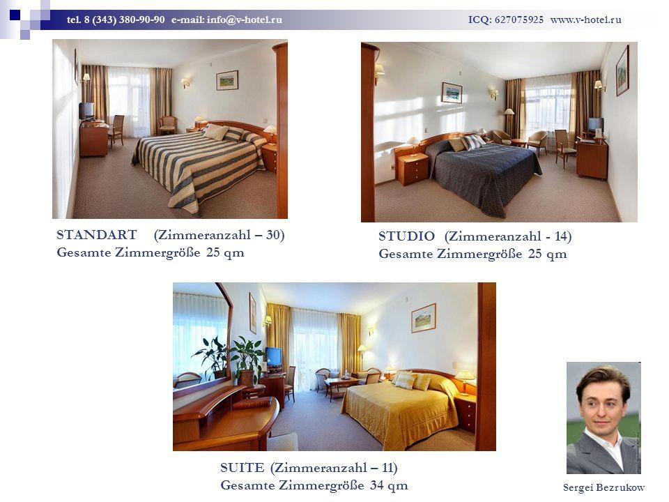 STANDART (Zimmeranzahl – 30) Gesamte Zimmergröße 25 qm STUDIO (Zimmeranzahl - 14) Gesamte Zimmergröße 25 qm SUITE (Zimmeranzahl – 11) Gesamte Zimmergr