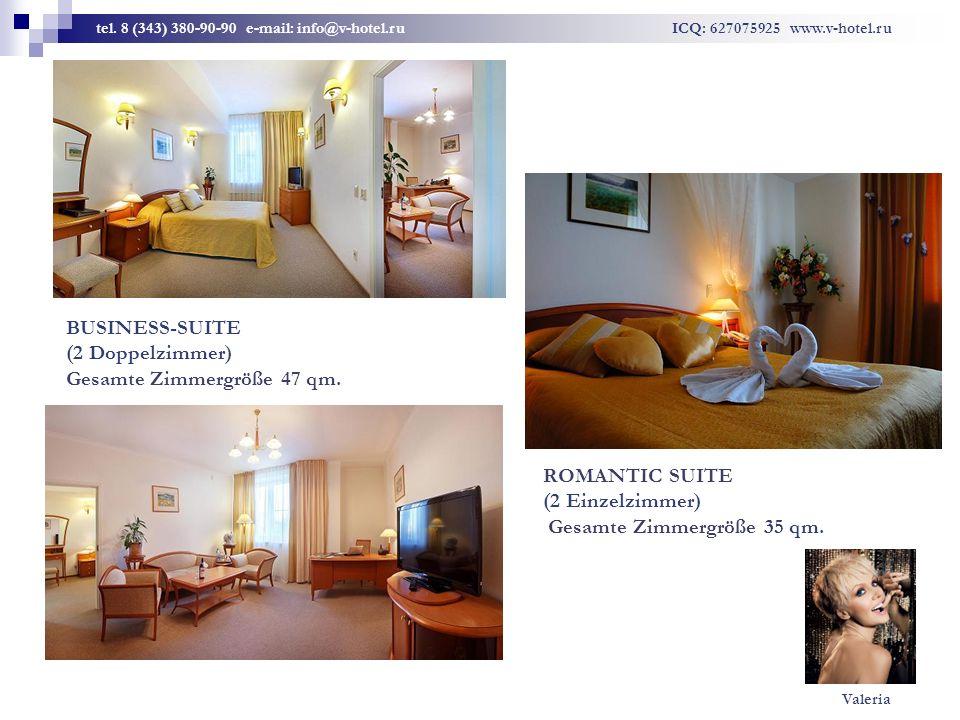 BUSINESS-SUITE (2 Doppelzimmer) Gesamte Zimmergröße 47 qm. ROMANTIC SUITE (2 Einzelzimmer) Gesamte Zimmergröße 35 qm. tel. 8 (343) 380-90-90 e-mail: i