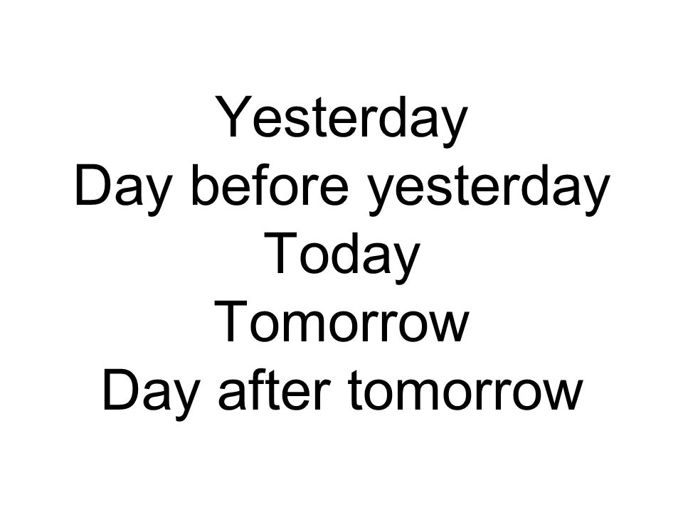 Yesterday Day before yesterday Today Tomorrow Day after tomorrow