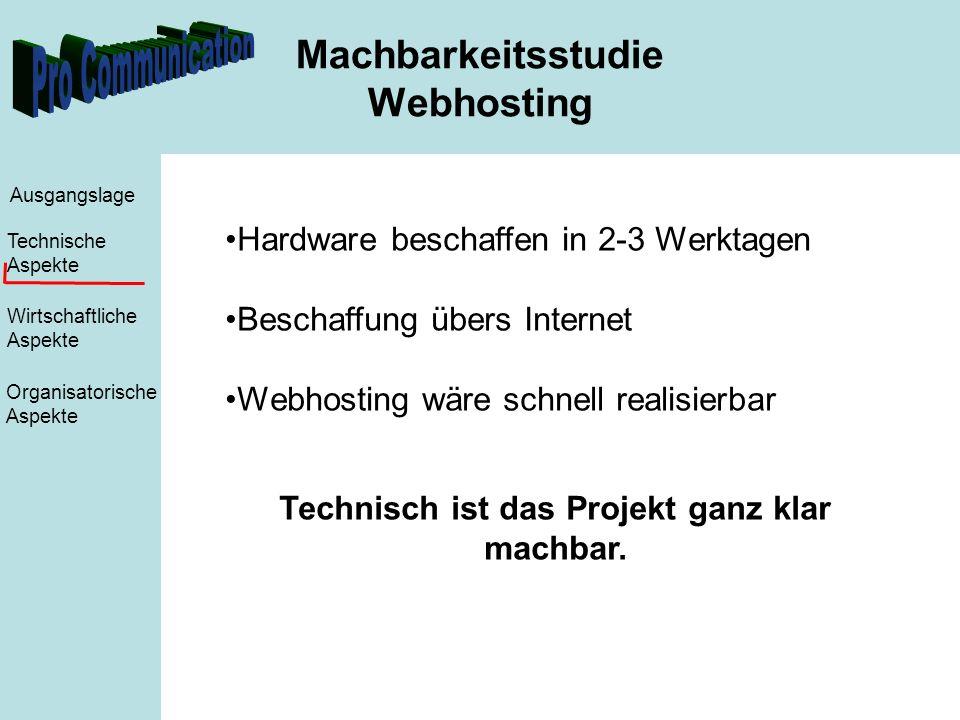 Machbarkeitsstudie Webhosting Ausgangslage Technische Aspekte Wirtschaftliche Aspekte Organisatorische Aspekte Hardware beschaffen in 2-3 Werktagen Beschaffung übers Internet Webhosting wäre schnell realisierbar Technisch ist das Projekt ganz klar machbar.