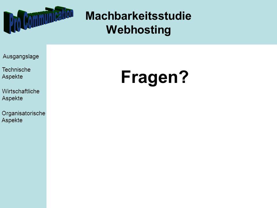 Machbarkeitsstudie Webhosting Ausgangslage Technische Aspekte Wirtschaftliche Aspekte Organisatorische Aspekte Fragen?