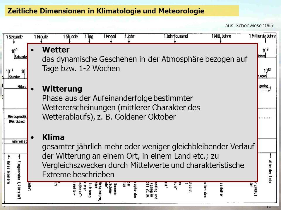 10 Zeitliche Dimensionen in Klimatologie und Meteorologie aus: Schönwiese 1995 Wetter das dynamische Geschehen in der Atmosphäre bezogen auf Tage bzw.