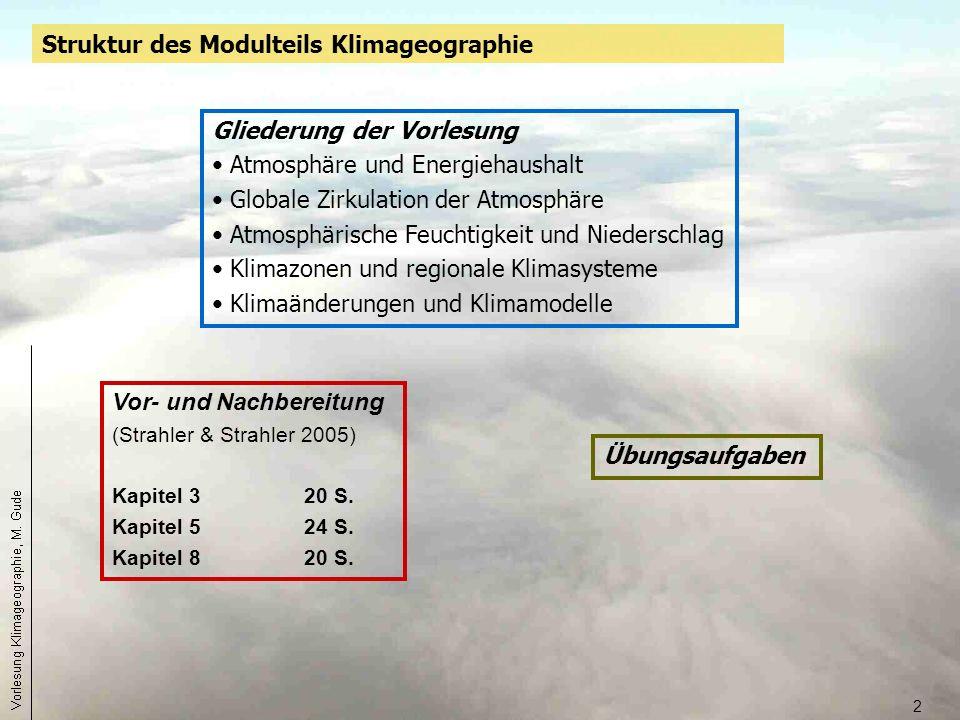 2 Vor- und Nachbereitung (Strahler & Strahler 2005) Kapitel 320 S. Kapitel 524 S. Kapitel 820 S. Struktur des Modulteils Klimageographie Übungsaufgabe