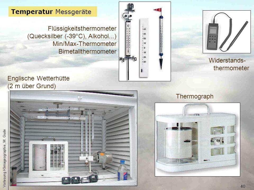 40 Temperatur Messgeräte Flüssigkeitsthermometer (Quecksilber (-39°C), Alkohol...) Min/Max-Thermometer Bimetallthermometer Englische Wetterhütte (2 m