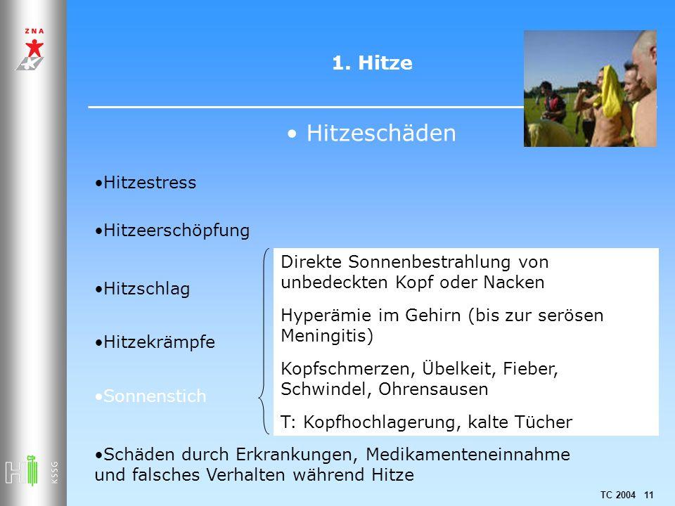 TC 2004 11 1. Hitze Hitzeschäden Hitzestress Hitzeerschöpfung Hitzschlag Hitzekrämpfe Sonnenstich Schäden durch Erkrankungen, Medikamenteneinnahme und