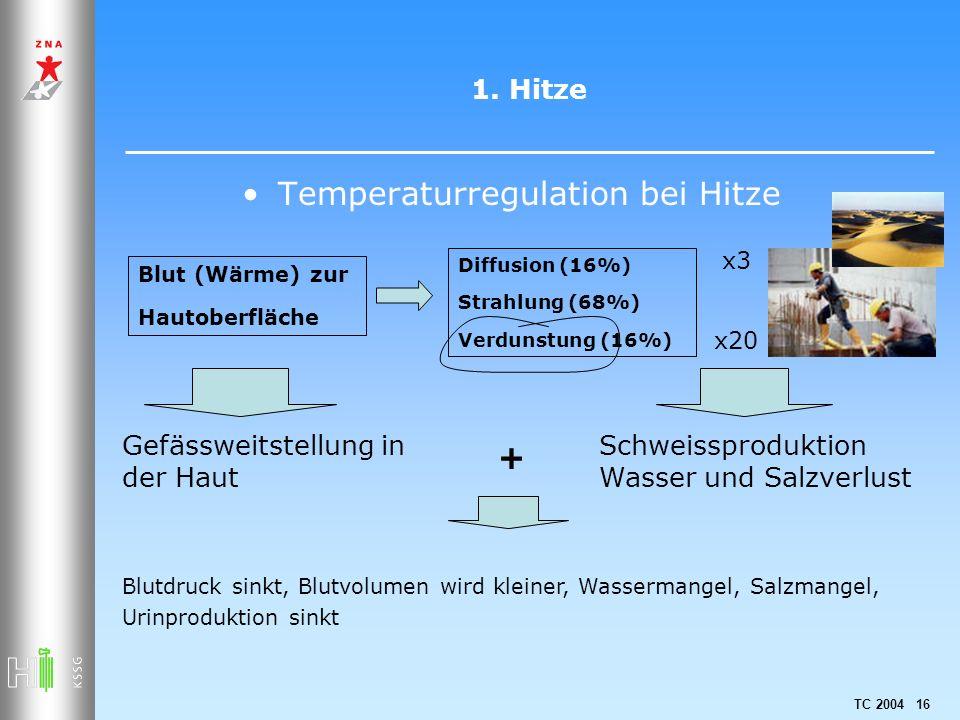 TC 2004 16 1. Hitze Temperaturregulation bei Hitze Blut (Wärme) zur Hautoberfläche Diffusion (16%) Strahlung (68%) Verdunstung (16%) Gefässweitstellun