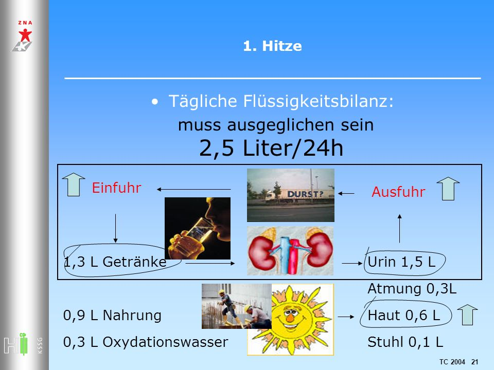 TC 2004 21 1. Hitze Tägliche Flüssigkeitsbilanz: muss ausgeglichen sein 1,3 L Getränke 0,9 L Nahrung 0,3 L Oxydationswasser 2,5 Liter/24h Urin 1,5 L A
