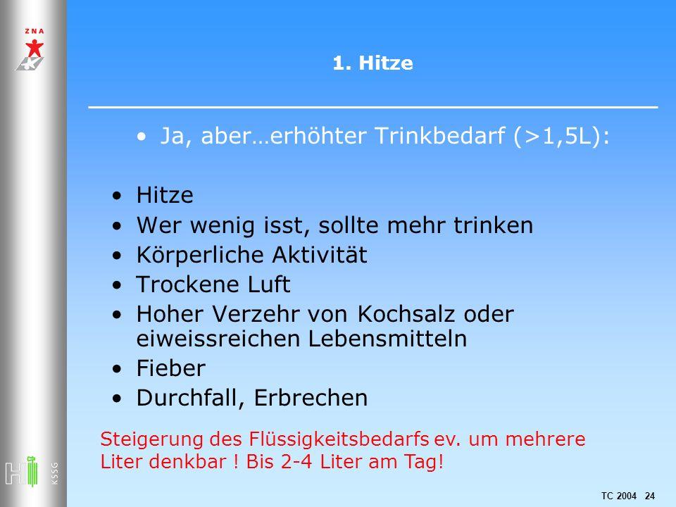 TC 2004 24 1. Hitze Ja, aber…erhöhter Trinkbedarf (>1,5L): Hitze Wer wenig isst, sollte mehr trinken Körperliche Aktivität Trockene Luft Hoher Verzehr