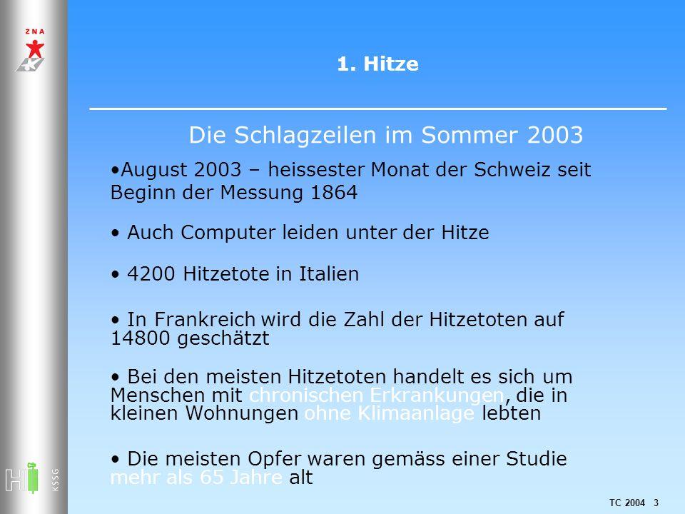 TC 2004 3 1. Hitze Auch Computer leiden unter der Hitze Bei den meisten Hitzetoten handelt es sich um Menschen mit chronischen Erkrankungen, die in kl