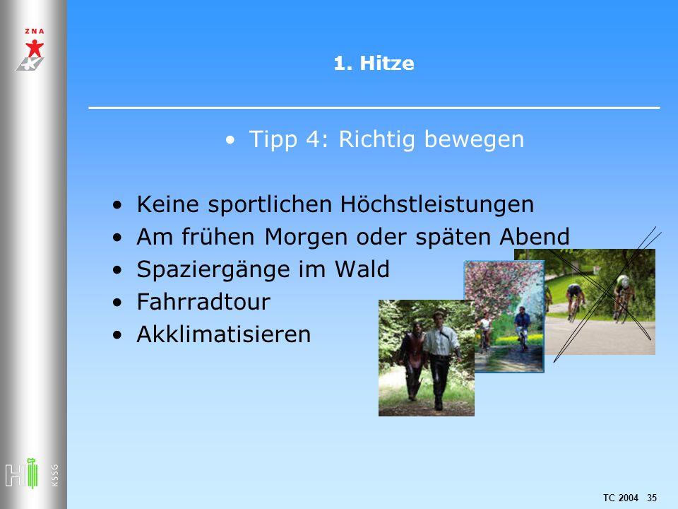 TC 2004 35 1. Hitze Tipp 4: Richtig bewegen Keine sportlichen Höchstleistungen Am frühen Morgen oder späten Abend Spaziergänge im Wald Fahrradtour Akk