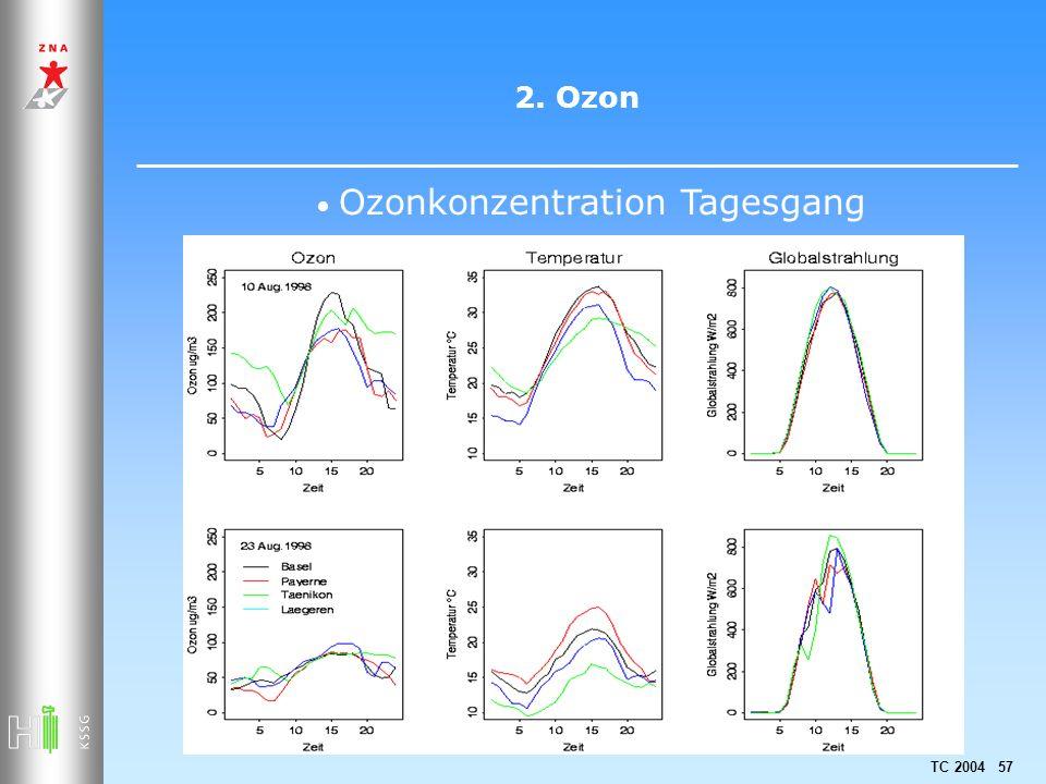 TC 2004 57 2. Ozon Ozonkonzentration Tagesgang
