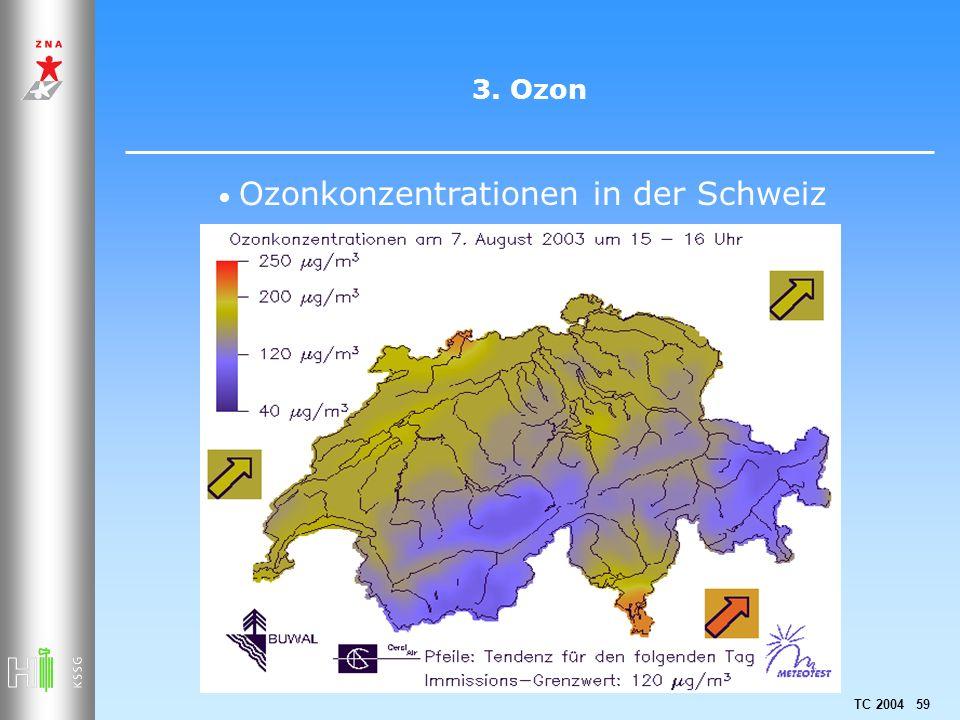 TC 2004 59 3. Ozon Ozonkonzentrationen in der Schweiz