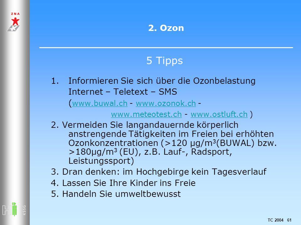 TC 2004 61 2. Ozon 1.Informieren Sie sich über die Ozonbelastung Internet – Teletext – SMS ( www.buwal.ch - www.ozonok.ch - www.buwal.chwww.ozonok.ch