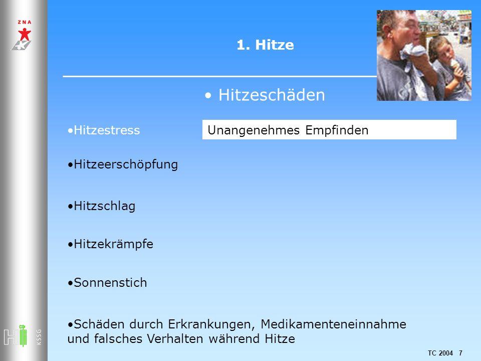 TC 2004 7 1. Hitze Hitzeschäden Hitzestress Hitzeerschöpfung Hitzschlag Hitzekrämpfe Sonnenstich Schäden durch Erkrankungen, Medikamenteneinnahme und