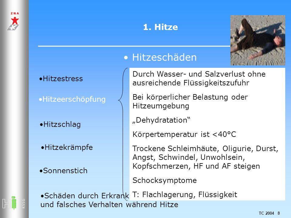 TC 2004 8 1. Hitze Hitzeschäden Hitzestress Hitzeerschöpfung Hitzschlag Hitzekrämpfe Sonnenstich Schäden durch Erkrankungen, Medikamenteneinnahme und