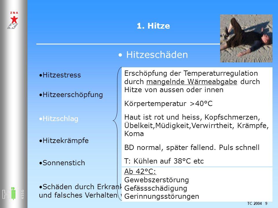 TC 2004 9 1. Hitze Hitzeschäden Hitzestress Hitzeerschöpfung Hitzschlag Hitzekrämpfe Sonnenstich Schäden durch Erkrankungen, Medikamenteneinnahme und