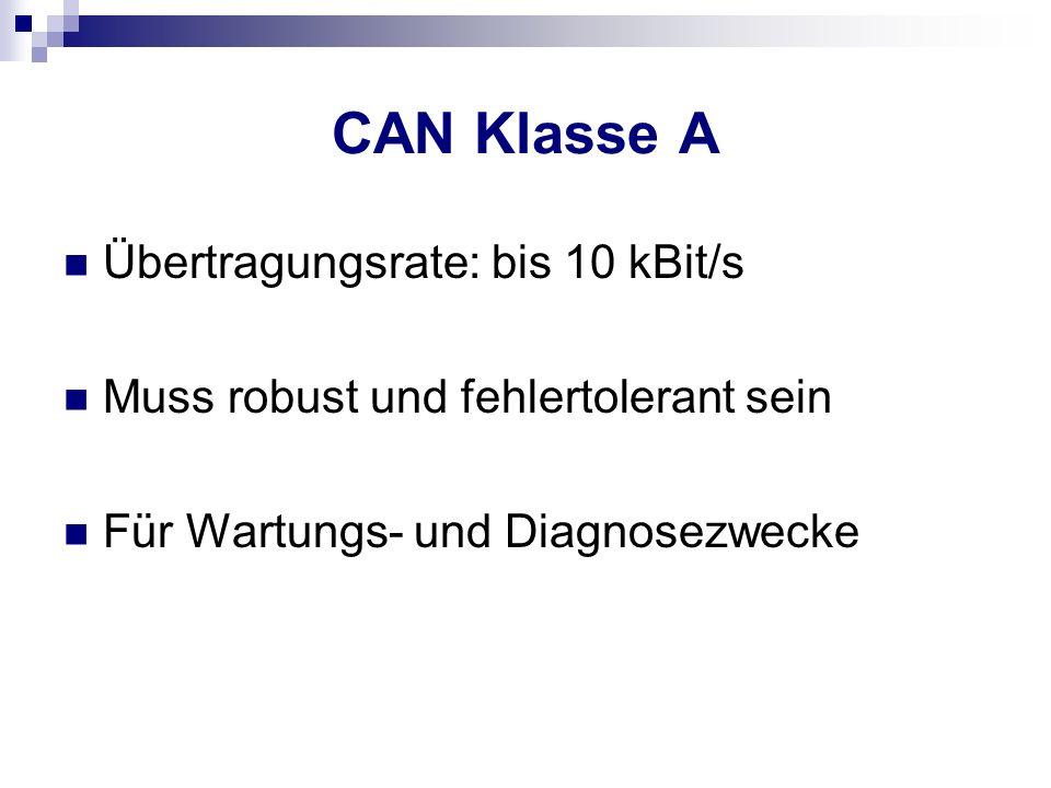 CAN Klasse A Übertragungsrate: bis 10 kBit/s Muss robust und fehlertolerant sein Für Wartungs- und Diagnosezwecke