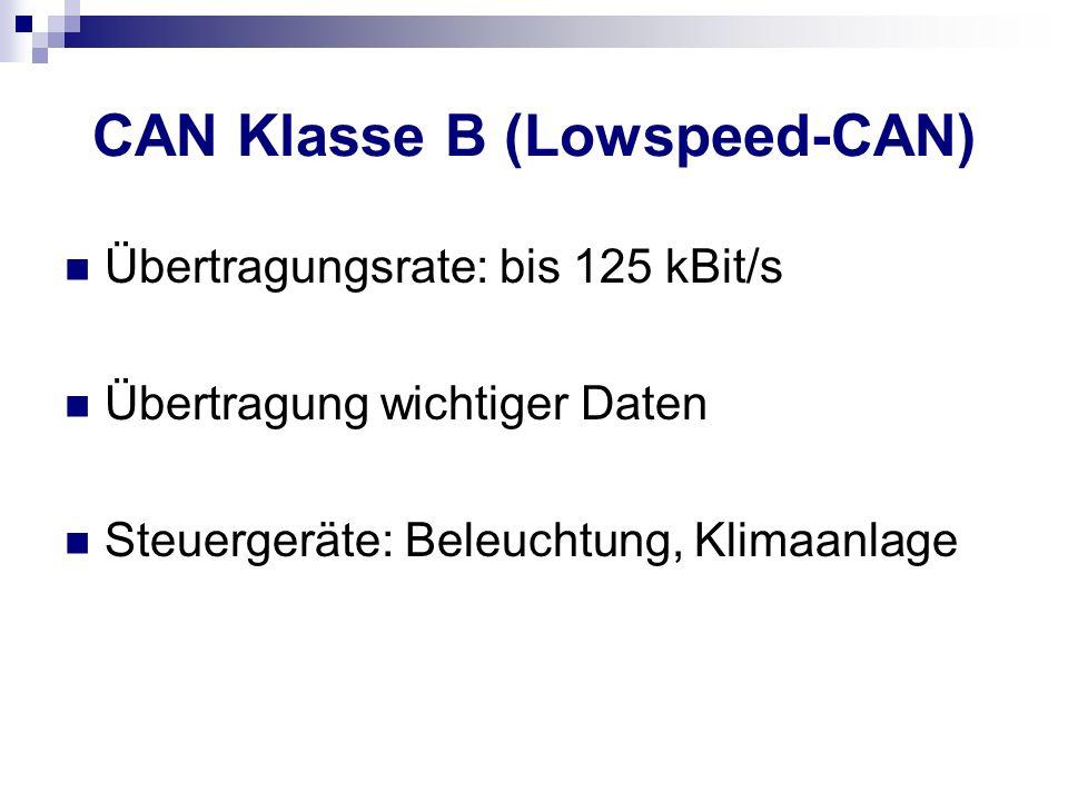 CAN Klasse B (Lowspeed-CAN) Übertragungsrate: bis 125 kBit/s Übertragung wichtiger Daten Steuergeräte: Beleuchtung, Klimaanlage