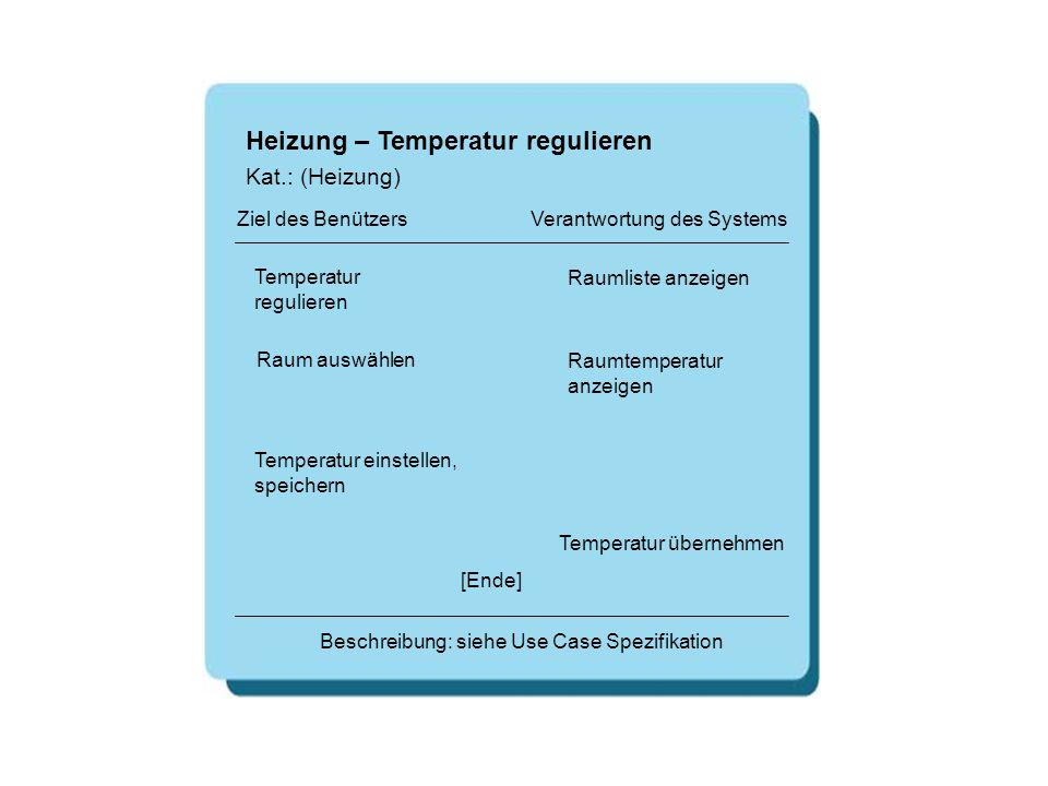 Heizung – Temperatur regulieren Temperatur regulieren Raumliste anzeigen [Ende] Beschreibung: siehe Use Case Spezifikation Ziel des Benützers Verantwo