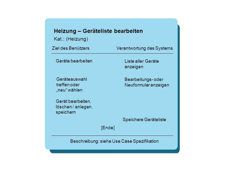 Heizung – Geräteliste bearbeiten Geräte bearbeiten Liste aller Geräte anzeigen [Ende] Beschreibung: siehe Use Case Spezifikation Ziel des Benützers Ve