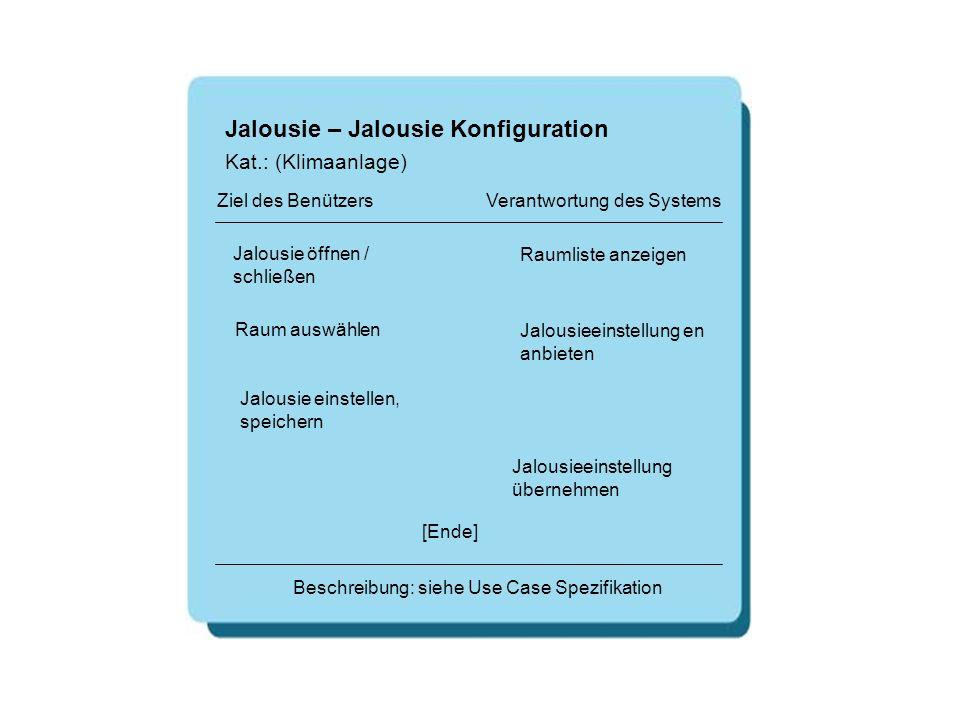 Jalousie – Jalousie Konfiguration Jalousie öffnen / schließen Raumliste anzeigen [Ende] Beschreibung: siehe Use Case Spezifikation Ziel des Benützers