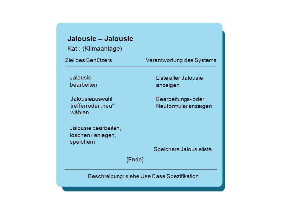 Jalousie – Jalousie [Ende] Beschreibung: siehe Use Case Spezifikation Ziel des Benützers Verantwortung des Systems Kat.: (Klimaanlage) Jalousie bearbe