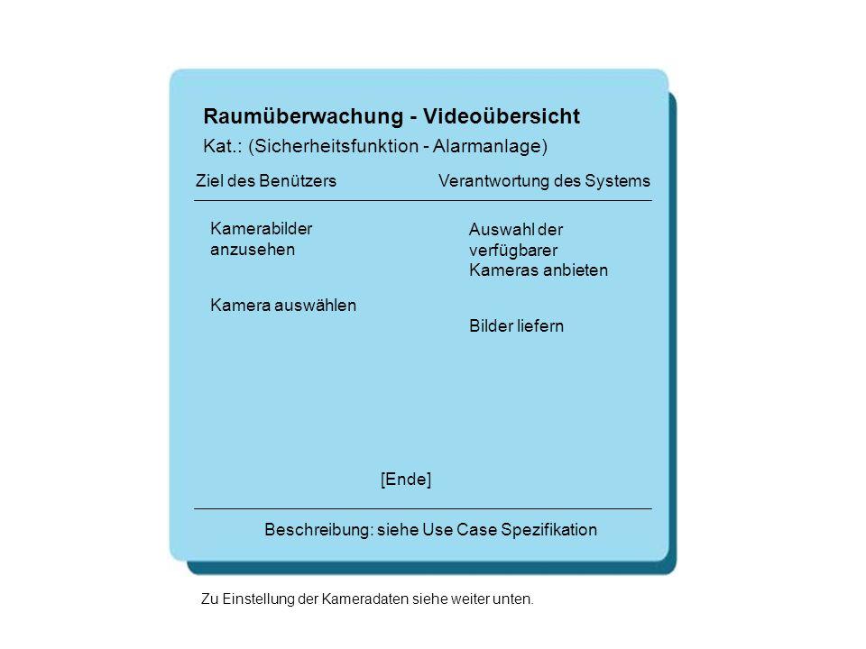 Raumüberwachung - Videoübersicht Kamerabilder anzusehen Auswahl der verfügbarer Kameras anbieten [Ende] Beschreibung: siehe Use Case Spezifikation Zie