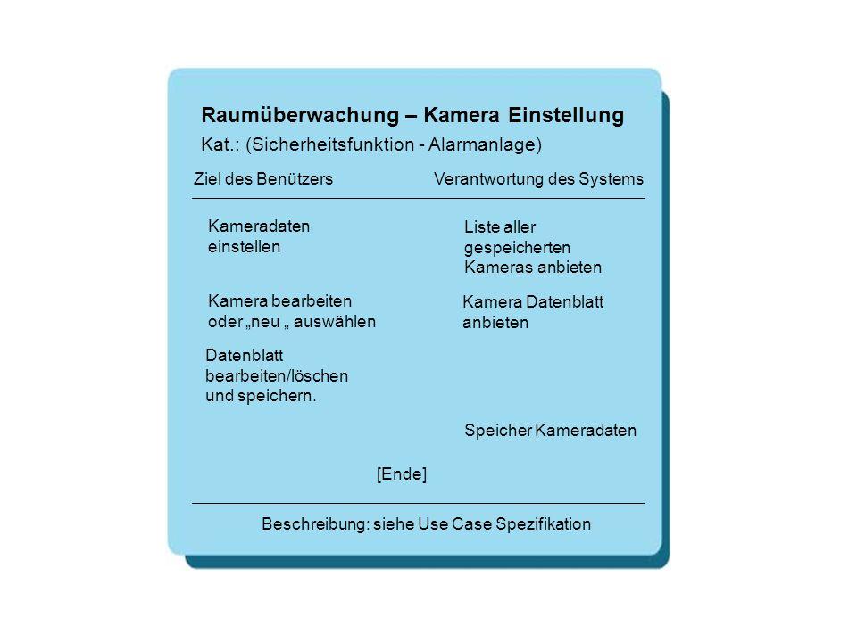 Raumüberwachung – Kamera Einstellung Kameradaten einstellen Liste aller gespeicherten Kameras anbieten [Ende] Beschreibung: siehe Use Case Spezifikati