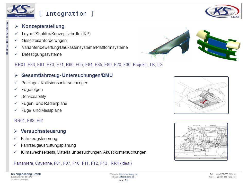 Webseite: http://www.kseng.de E-Mail: office@kseng.de Seite: 15 KS engineering GmbH Schleißheimer Str. 375 D-80935 München KS Group Das Unternehmen Te