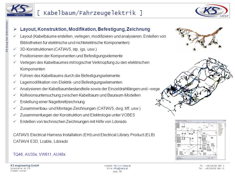 Webseite: http://www.kseng.de E-Mail: office@kseng.de Seite: 16 KS engineering GmbH Schleißheimer Str. 375 D-80935 München KS Group Das Unternehmen Te