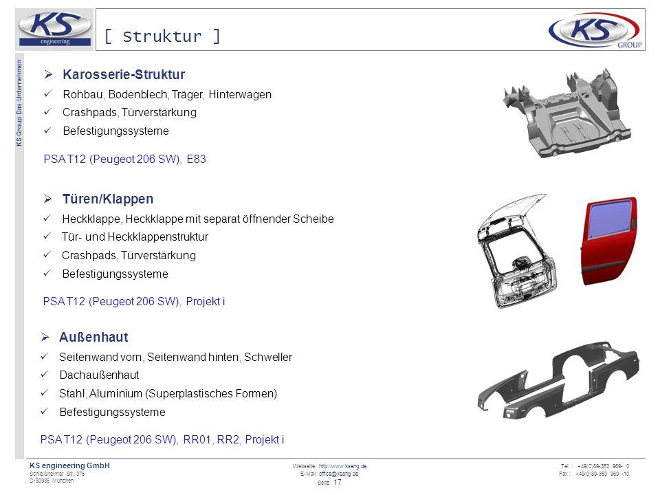 Webseite: http://www.kseng.de E-Mail: office@kseng.de Seite: 17 KS engineering GmbH Schleißheimer Str. 375 D-80935 München KS Group Das Unternehmen Te