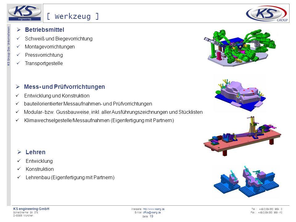 Webseite: http://www.kseng.de E-Mail: office@kseng.de Seite: 19 KS engineering GmbH Schleißheimer Str. 375 D-80935 München KS Group Das Unternehmen Te