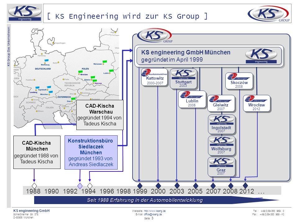 Webseite: http://www.kseng.de E-Mail: office@kseng.de Seite: 3 KS engineering GmbH Schleißheimer Str. 375 D-80935 München KS Group Das Unternehmen Tel