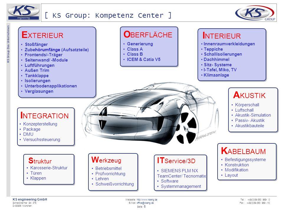 Webseite: http://www.kseng.de E-Mail: office@kseng.de Seite: 5 KS engineering GmbH Schleißheimer Str. 375 D-80935 München KS Group Das Unternehmen Tel