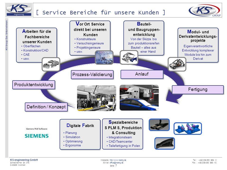 Webseite: http://www.kseng.de E-Mail: office@kseng.de Seite: 7 KS engineering GmbH Schleißheimer Str. 375 D-80935 München KS Group Das Unternehmen Tel