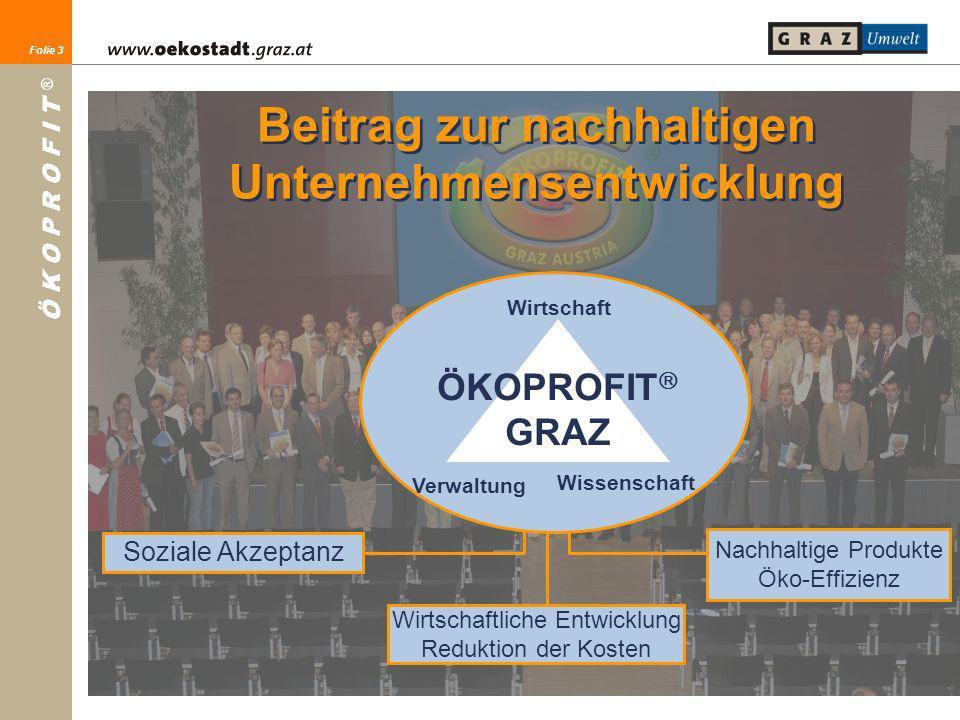 Folie 3 Ö K O P R O F I T ® Folie 3 Soziale Akzeptanz Wirtschaftliche Entwicklung Reduktion der Kosten Nachhaltige Produkte Öko-Effizienz Wirtschaft V