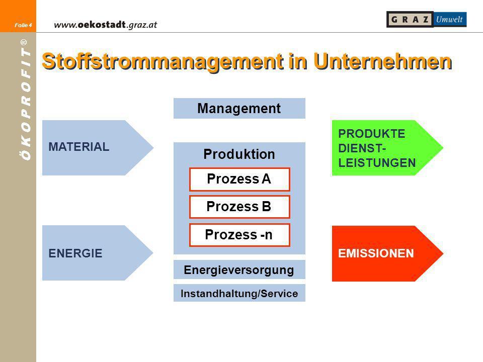 Folie 4 Ö K O P R O F I T ® Folie 4 MATERIAL ENERGIE PRODUKTE DIENST- LEISTUNGEN EMISSIONEN Management Produktion Prozess A Prozess B Prozess -n Energ
