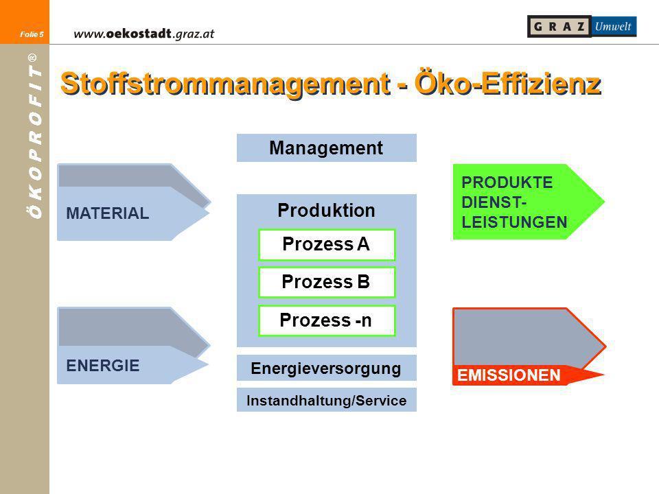 Folie 5 Ö K O P R O F I T ® Folie 5 MATERIAL ENERGIE PRODUKTE DIENST- LEISTUNGEN EMISSIONEN Management Produktion Prozess A Prozess B Prozess -n Energ