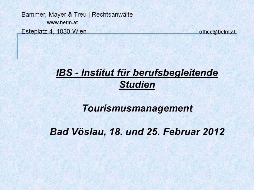 Bammer, Mayer & Treu   Rechtsanwälte www.betm.at Esteplatz 4, 1030 Wien office@betm.at Informationspflichten: - Gilt ebenso wie RSV nur für Pauschalreisen.