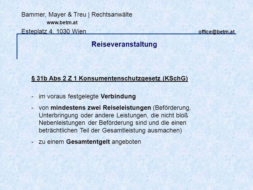 Bammer, Mayer & Treu   Rechtsanwälte www.betm.at Esteplatz 4, 1030 Wien office@betm.at VO (EG) Nr 261/2004 (EU-Flugverspätungs-VO): gilt für Flüge, die - von Luftfahrtunternehmern aus der EU durchgeführt werden oder - in EU beginnen.