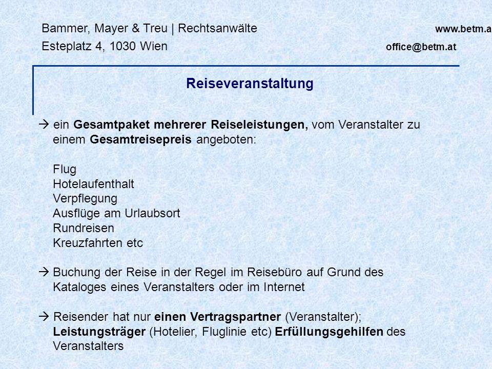 Bammer, Mayer & Treu   Rechtsanwälte www.betm.at Esteplatz 4, 1030 Wien office@betm.at VO (EG) Nr 261/2004 (EU-Flugverspätungs-VO): Flugverspätung abhängig von Entfernung: - unter 1.500 km: mindestens zwei Stunden - 1.500 bis 3.500 km: mindestens drei Stunden - über 3.500 km: mindestens vier Stunden Rechtsfolgen: - Unterstützungsleistungen - Betreuungsleistungen Rechtsfolgen von Leistungsstörungen